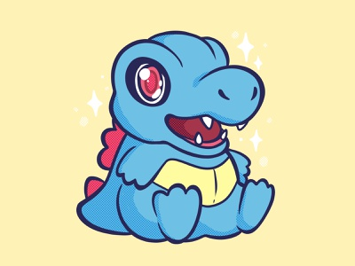 Totodile johto starters starter pokemon totodile pokemon spot illustration character illustration raster illustration