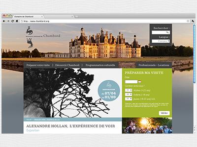 Site Internet du domaine de Chambord direction artistique webdesign ergonomie accessibilité chambord