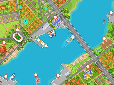 Bird's eye view of the Bosphorus bridge map turkey istanbul wacom game illustration 2d vector illustrator