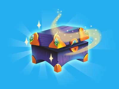 Magic Chest treasure treasure chest cash coins diamond gold shine glow shop design illustrator 2d illustration vector game slot magic chest