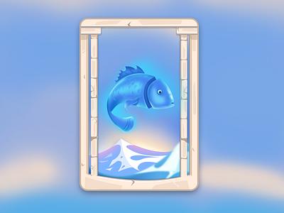 Card Design mythology antique photoshop greek fish board game design illustration card graphic design