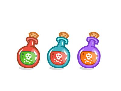Potions icon colorful elixir cute cartoon potion wacom illustrator game design 2d illustration vector