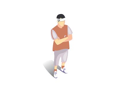 Sportsman athletic man player sportsman sport illustrator 2d illustration vector