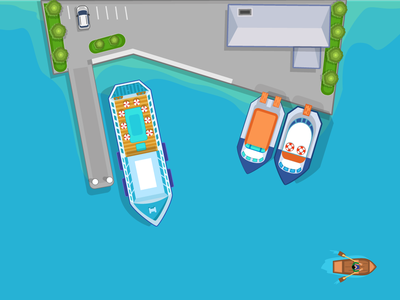 Harbor birds eye cruise ship sea ship harbor illustrator game design 2d illustration vector