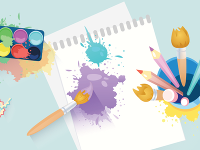 Painting sketches drawing creative paper brush painting 2d illustration vector