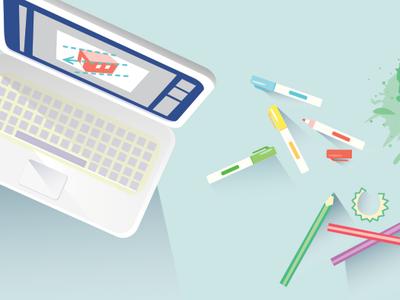 Work Environment work notebook design brush computer sketch illustrator 2d illustration vector