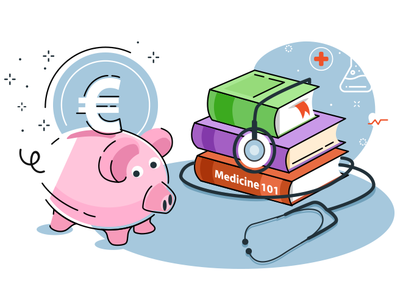 Medical Student cover 2d doctor concept vector illustraion pig books europe study university student medicine chemical