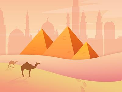 Egypt Background concept illustrator 2d wacom illustraion vector pyramid yellow dessert cover egypt background