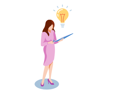 Working idea woman working work isometric design illustration 2d vector
