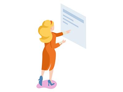 Working woman working work character illustrator isometric design illustration 2d vector