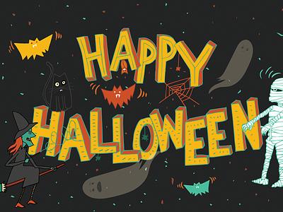 Happy Halloween illustration hand lettering ghost mummy witch bats halloween
