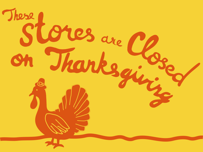 Stores Closed typography turkey thanksgiving type hand lettering