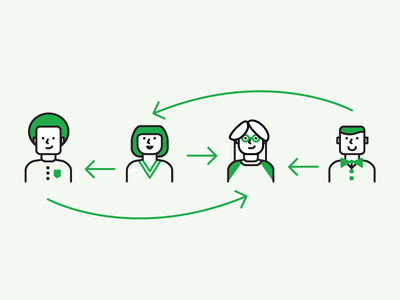 Collaboration Illustration multiple people arrows green stroke collaboration