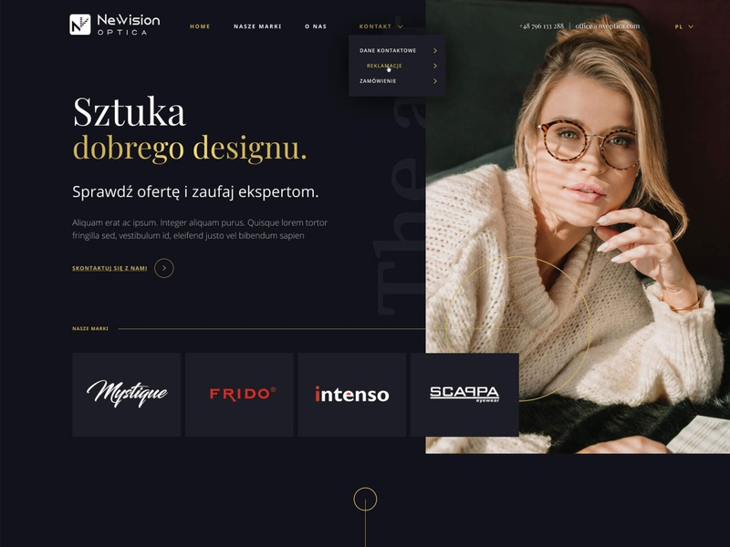 NVO exclusive design exclusive glasses black gold wordpress development elementor wordpress