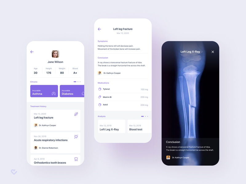 Medical App – Patient card fracture x-ray treatment sickness medicine medical design medical app medical illness health figma doctor disease app