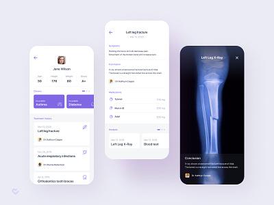 Medical App – Patient card fracture x-ray treatment sickness medicine medical design medical app medical illness health figma doctor disease app