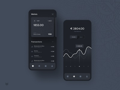 Black Wallet App – Statistic spend income statisitc wallet finance dark app dark bank card bankingapp banking bank figma app