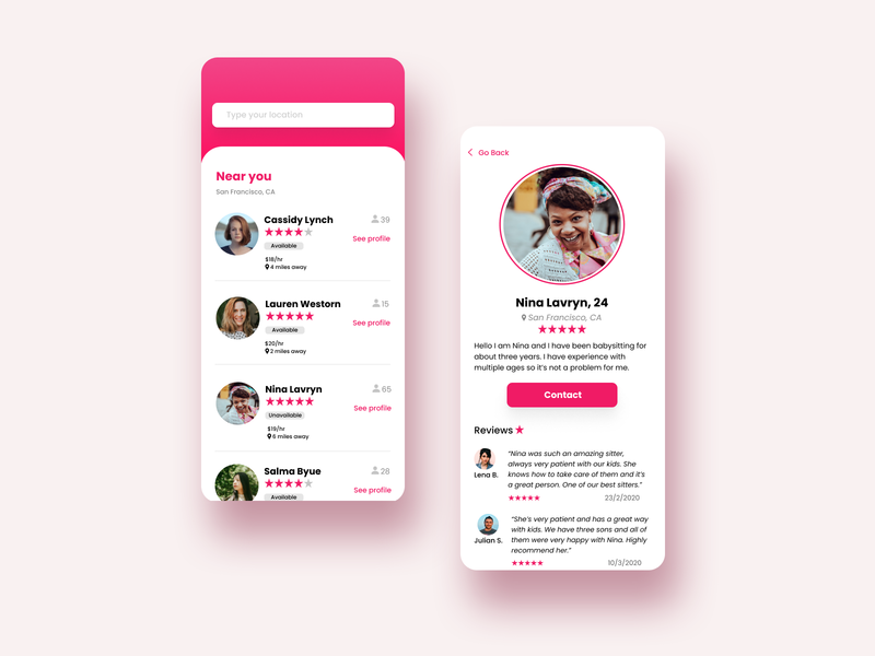 My Nanny | App to find babysitters near you figma app design appdesign app web design ux ui ux ui design uidesign ui design