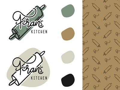 Fran's Kitchen design flat simple vector icon logo branding handlettering type illustration