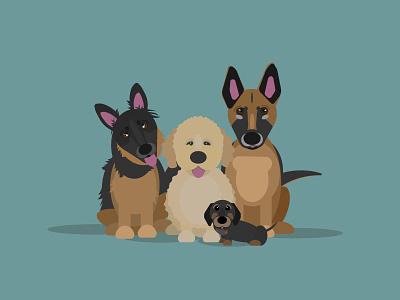 One Big Happy Family simple icon dog dog illustration illustration