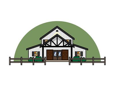 Farmhouse minimal simple design farmhouse house icon illustration