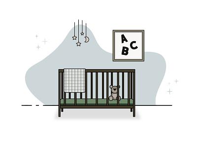 New Beginnings crib baby vector icon simple design illustration