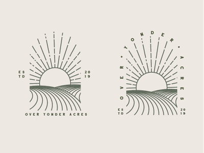 Over Yonder Acres branding design vector logo simple icon illustration type