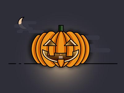 Happy Halloween jack-o-lantern pumpkin halloween vector design simple icon illustration