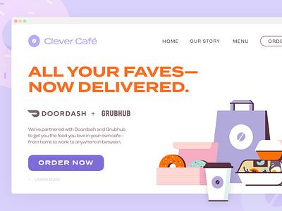 Donut Café Splash Page Website food order typography flat illustration e-commerce coffee cafe donut