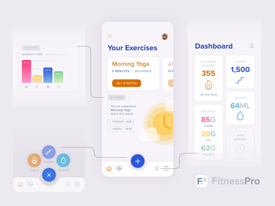 All-in-One Fitness Tracker App flat ui fitness exercise yoga morning dashboard nutrition graph floating action button colorful interface