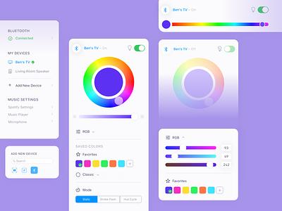 SmartLED Color Picker App app design interface led lights sliders swatches color ui