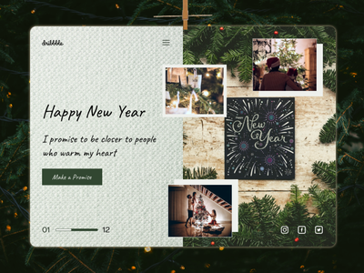 New Year's Resolution web design first screen dribbbleweeklywarmup happy holidays