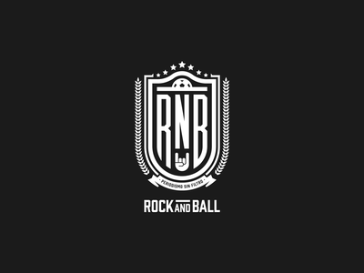 Rock And Ball sports ball rock and roll rock soccer shield brand identity logos vector logo design brand design brand logo branding design