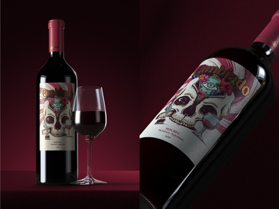 Cambiado · Wine label design wine bottle winery skull branding illustration packaging label wine