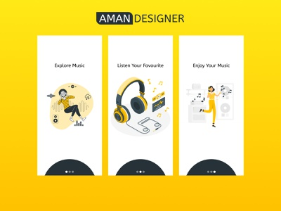 Music app onboarding screens illustration music player intro musicapp figmadesign app ux ui design creativity creative design creative
