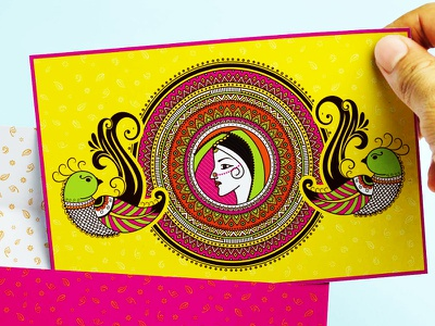 Indian Wedding Invitation inspired by Henna Art bride parrot wedding indian henna