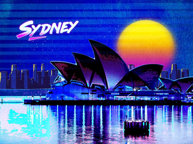 Retro City Poster world australia design abstract sunset neon lights sea neon effect retro poster sydney opera house cityscape city retro concept graphic presentation
