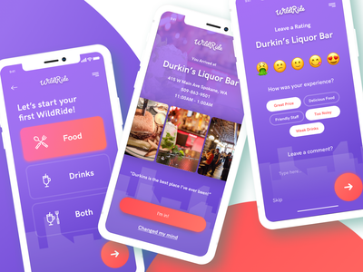 WildRide Mobile App gradient purple mobile app design eating food yelp mobile