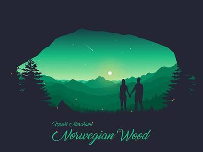 Norwegian Wood murakami shooting star trees pine mountains vector stars forest sunset moon illustration