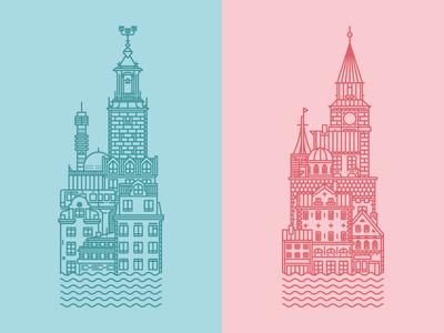 Cities illustration stockholm copenhagen poster design andreas wikström