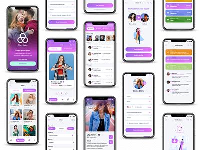 Dating App Meet Me ISO UIKIT social media app datingapp illustration ui ui design uiux prototype uiux designer uiux iso uiux app