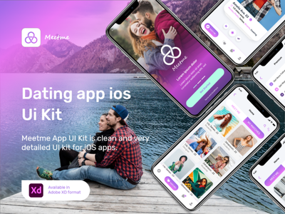 Dating App Meet Me ISO UIKIT uiux prototype ui design social media app dashboard web tempalte uikit dating app uiux iso uiux app