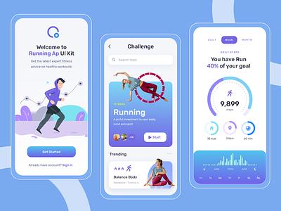 Running App Challenge - Fitness App - Yoga App yoga app ui freebie yoga app onboarding concept fitness calendar fitness app illustration fitness app ui yoga app concept yoga app fitness app running app challenge