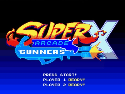 Super Arcade Gunners X pixel art identity branding games logo pixel