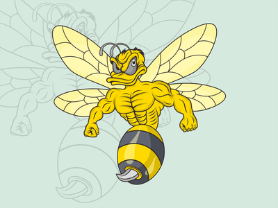 mascot logo bee illustration