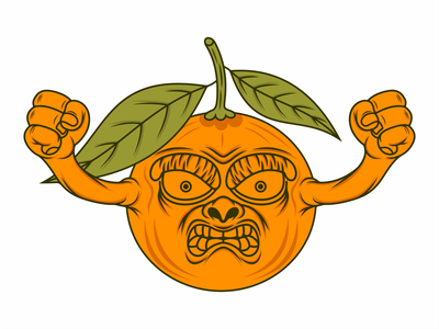 cartoon orange fruit logo illustration