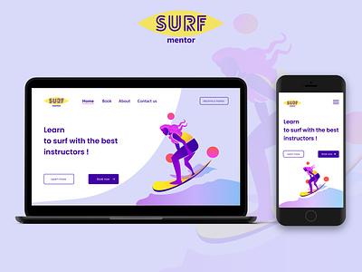 Surf mentor logo web drawing vector illustrator product illustration webdesign design ux ui
