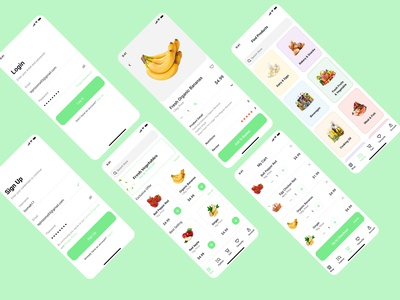 Delivery Grocery App mobile app typography ecommerce food delivery vegetables branding fruit web website ux ui landingpage design