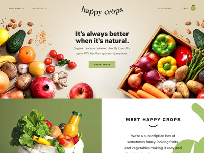 Happy Crops branding shopify graphic design illustration design ecommerce website web ux ui