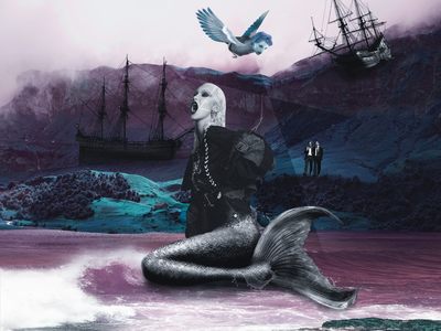 Siren mermaid ship siren collage design dark personage illustration